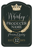 Label for whiskey with ears of barley and crown
