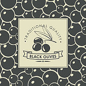 vector label for black olives with olive twig