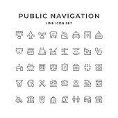 Set line icons of public navigation