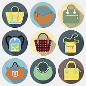 Flat icons set of fashion bags collection of Women and men handbags