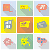Thank you vector, appreciation and gratitude speech bubble set. Collection of cute speech balloon with shadows and writing on it. Icons set for business.