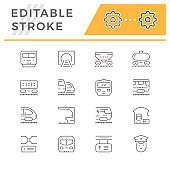 Line icons set - Editable stroke
