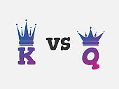 Versus VS letters for battle fight king and queen. Vector illustration of color gradient flat  monarch icon with  crown silhouette.