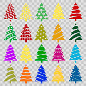 Set of colorful christmas trees. Vector.