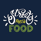 Calligraphic hand drawn doodle poster - Fresh street food