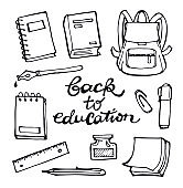 Back to school - hand drawn doodle set