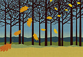 autumn background with trees and falling leaves for backgrounds, banners, print designs.