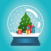 Christmas ball with snow and a Christmas tree. Snow globe with gift boxes. Winter christmas vector illustration.