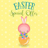 Greeting cards with cute Easter bunny, Easter eggs