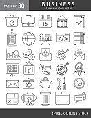 Business line icon set