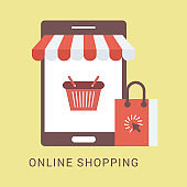 Online Shopping by smartphone - Illustration