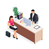 Isometric concept of job interview.