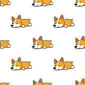 Cute corgi dog sleeping seamless pattern, vector illustration