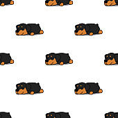 Cute rottweiler puppy sleeping seamless pattern, vector illustration
