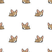 Cute chihuahua puppy sleeping seamless pattern, vector illustration
