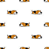 Cute beagle dog sleeping seamless pattern, vector illustration