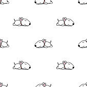 Cute bull terrier puppy sleeping seamless pattern, vector illustration