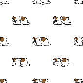 Cute bulldog sleeping seamless pattern, vector illustration