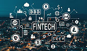Cryptocurrency fintech theme with Downtown Los Angeles