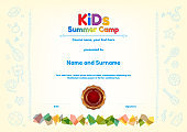 Kids Summer Camp Diploma or certificate template award seal with fun activities border