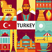Turkey travel poster concept.