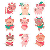 Cute Christmas piggies collection.