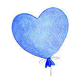 Helium balloon in the shape of a heart.
