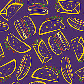 Bright purple pattern with color outline fast food