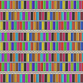 Pattern with bright rows of cartoon color pencils
