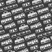 Monochrome cartoon flat city transport pattern