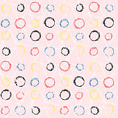 Polka dot pattern with grunge color circle on pink