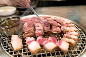 Treaky pork for Grilled Pork Belly, Korean style menu, Korea Traditional And Popular Food, delicious of food.