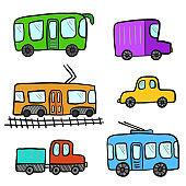 Cute cartoon colorful doodle city transport