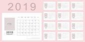 Light pink minimalistic calendar of new 2019 year