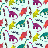 Cute cartoon multicolored dinosaurs pattern