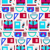 Bright pink and blue school equipment pattern