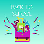 Bright colorful back to school poster