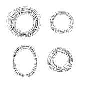 Set of vector sketchy scribble line circle frames