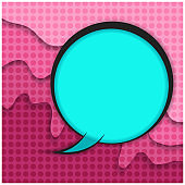 Blue comic bubble on pink paper cut background