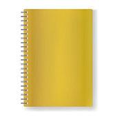 Vector golden realistic notebook on spiral mockup
