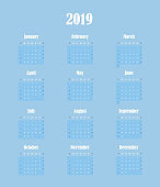 Simple blue calendar of 2019 New year