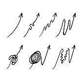 Set of doodle arrows symbolized way to success