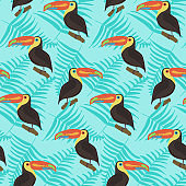 Bright pattern with toucans and leaves on blue