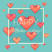 Happy mother's day card with pink hearts on blue