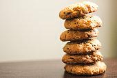 Shiny pile of brown homemade oatmeal cookies