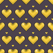 Elegant Valentines day pattern with gold 3d hearts