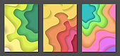 Set of bright summer colors paper cut backgrounds