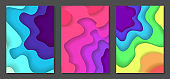Set of abstract multicolor paper cut backgrounds
