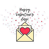 Cute Valentine's day card with hearts and envelope