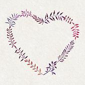 Heart shaped watercolor frame for branding